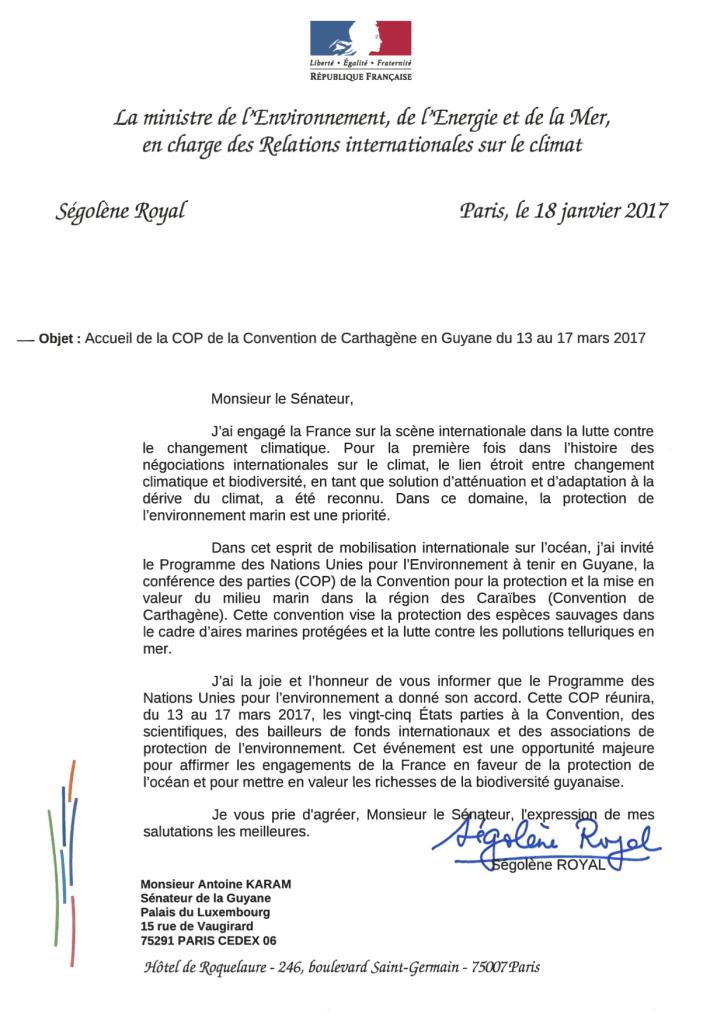 Lettre Ministre Antoine Karam_COP Carthagène