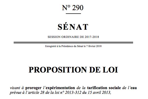 Adoption d'une proposition de loi sur la tarification sociale de l'eau